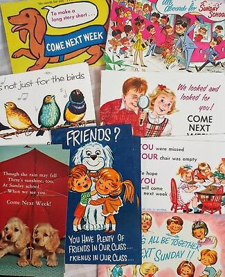 Vintage Sunday School Postcard 28 lot come to Church next week missed you UNUSED
