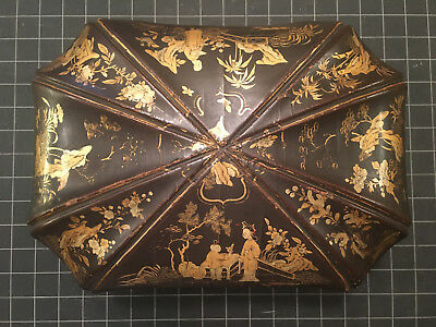ANTIQUE 19th CENTURY QING CHINESE GILT GOLD LACQUER EXPORT TEA CADDY