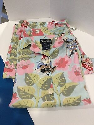 db218bf2c9 HTF Nick Nora Womens Gnome Garden Floral Blue Pajama PJ Set Medium Cotton  Cute