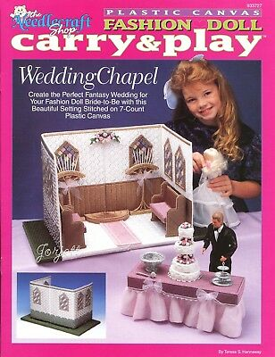 Carry & Play Wedding Chapel ~ fits Barbie dolls, plastic canvas pattern booklet