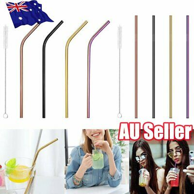 4x Multi-colour Stainless Steel Metal Drinking Straw Straws Reusable + Brush ON
