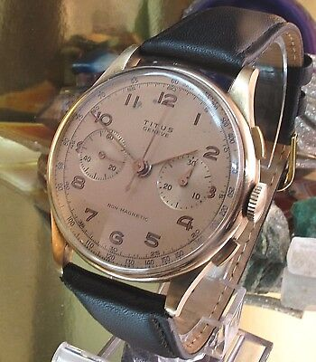 Titus Geneve 18 ct Gold watch Landeron 58  chronograph 33 mm Two Year Warranty