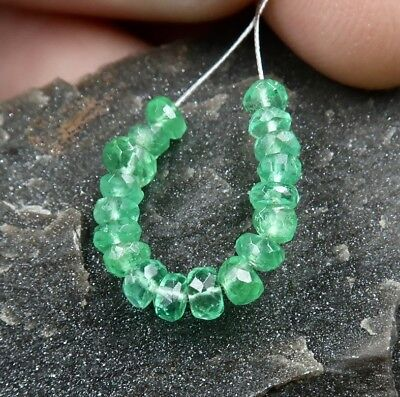 COLOMBIAN EMERALD - SPECTACULAR RARE GEM AAAAA+ 2.8-3.7mm BEADS 2.6cts