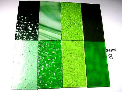 8 GREEN Stained Glass Hobby Sheets 100mm x 50mm x 3m  Quality Craft Items LOT B