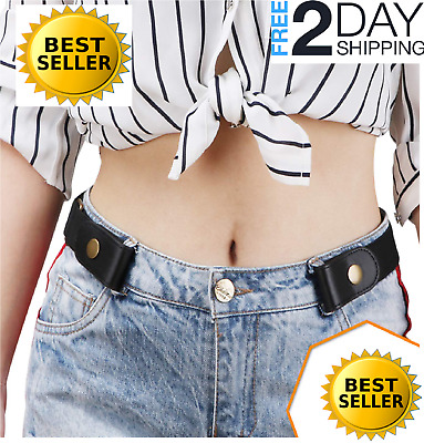 Buckle-free Elastic Women Men Belt for Jeans without Buckle, SANSTHS Comfortable