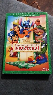 Lilo and Stitch 2 Movie Collection w/ Slip Cover (Blu Ray / DVD, 3-Disc, 2013)