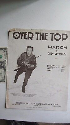 """RARE PATRIOTIC WWI Sheet Music, """"OVER THE TOP"""" March, British Uniform, Trenches"""