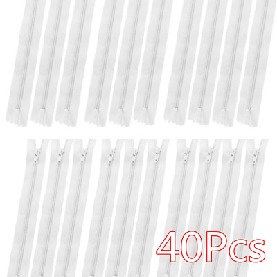 Pack of 40 White Coil Zippers Tailor Nylon Closed End Sewer Sewing DIY Craft AU