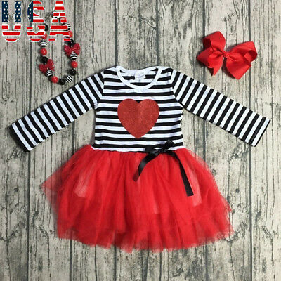 USA Toddler Kids Baby Girls Tulle Tutu Dress Love Valentine Party Pageant Dress