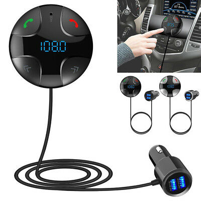 Bluetooth 4.2 Wireless FM Transmitter Car Kit Hands-Free USB Charge MP3 With Mic