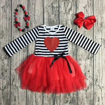 Baby Girls Valentine's Day Love Dress Kids Princess Party Tulle Dresses Clothes