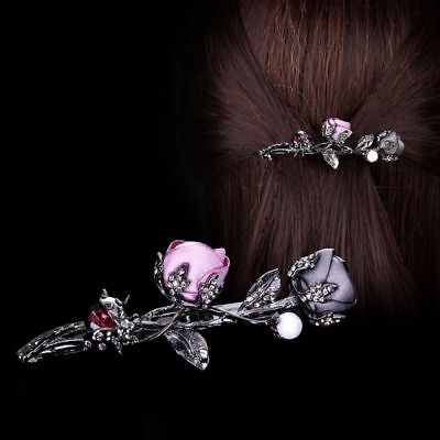 Hair Clips Crystal Headwear Rose Flower Simulated Pearl Barrettes Women Gifts