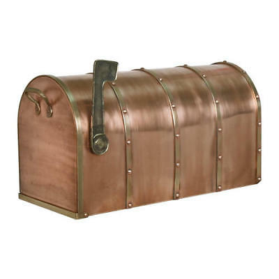 Signature Hardware Riveted Post Mount Copper Mailbox with Brass Accents