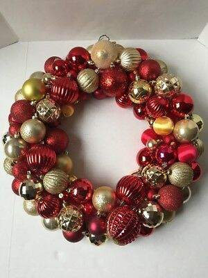 Ball Ornament Wreath Christmas 20 Inch Red Gold Handcrafted USA Seller New