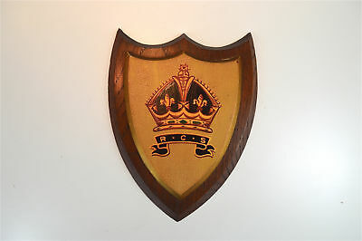 Antique oak armorial wall plaque Royal Commonwealth society coat of arms shield