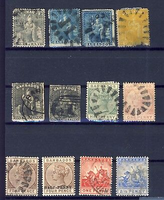 12x Early Barbados used stamps Including 2x 1-shilling. See Scan