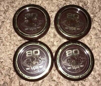 Lot of 4 Used 1907 1987 UPS United Parcel Service 80 years Plastic Coasters