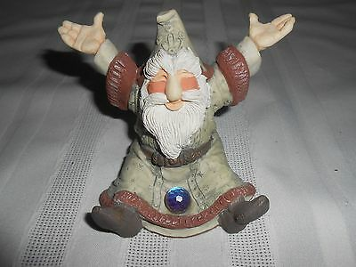 """Krystonia """"haapf 7006"""" Sitting Wizard With Crystal ~ """"the Mirth Bringer"""""""