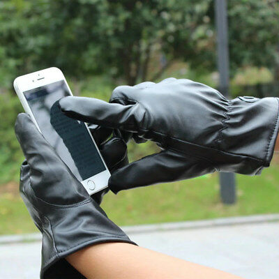 Leather Gloves Touch Screen Thermal Thinsulate Lined Driving Warm Gloves 2019