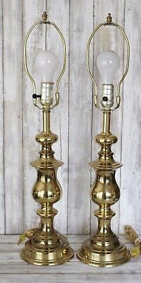 BRASS Table LAMPS Vintage Pair 2 Polished Turned Column Hollywood Regency HEAVY