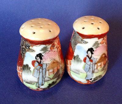 Nippon Satsuma Salt And Pepper Shakers - Hand Painted Imari With Moriage - Japan