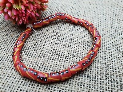 Strang Krobo trade beads Ghana recycled glass Pulver Glasperlen Afrika 8 mm rot