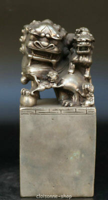 Chinese Ancient Miao Silver lion animal Statue Dynasty imperial Seal Stamp Signe