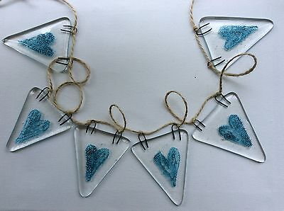 Fused Glass Bunting Blue Heart Engagement Gift Valentines Day Garland decoration