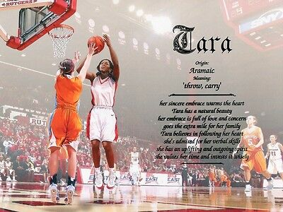 """Girls Womens """"Basketball 2"""" Name Meaning Print Personalized (Sports)"""