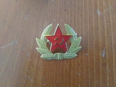 dfaed77fd1b USSR Soviet Army RED STAR Hat Cap   Badge   Cockade   Enamel Pin Hammer