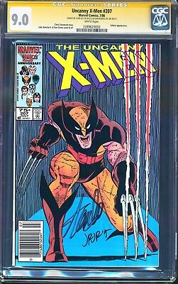 Uncanny X-Men #207 CGC SS 2X Signed STAN LEE Classic Wolverine Cover NEWSSTAND