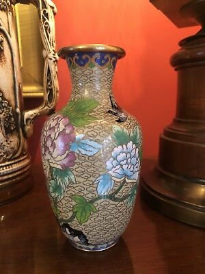 Beautiful Vintage Chinese Cloisonne Enamel Vase