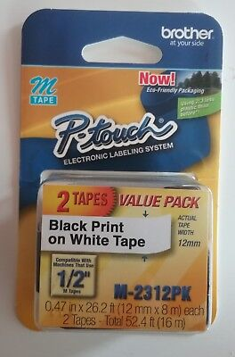 "Brother P-Touch M231 1/2"" tape 2-pack, new"