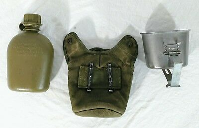 Vietnam US Army M1972 Plastic Canteen & Cup w/M1956 Canvas Cover insulated