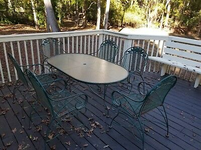 Vtg 7 Piece Metal Patio Dining Antique Table & 6 Chairs