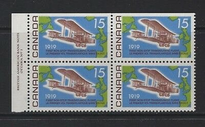 CANADA - #494 - 15c ALCOCK-BROWN FLIGHT UL PLATE #1 BLOCK (1969) MNH CV $12.50