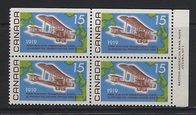 CANADA - #494 - 15c ALCOCK-BROWN FLIGHT UR PLATE #1 BLOCK (1969) MNH