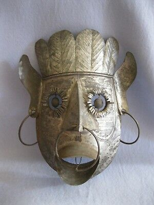 Vintage Tin Mexican Folk Art Mask~Native Man~Chief Mask~Wall Decoration