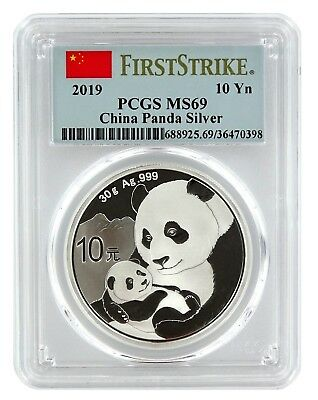 2019 China 10 Yuan Silver Panda PCGS MS69 - First Strike Label
