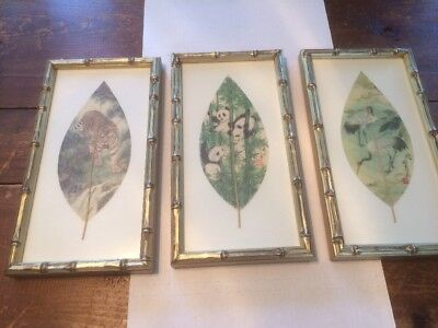 Chinese Leaf Art Paintings Tiger Panda Dragon Set of 3 Framed Asian