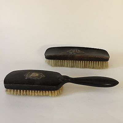 Ebony Wood Bristle Brush Grooming Set Sterling Silver Medallion Woman S.L. & Co