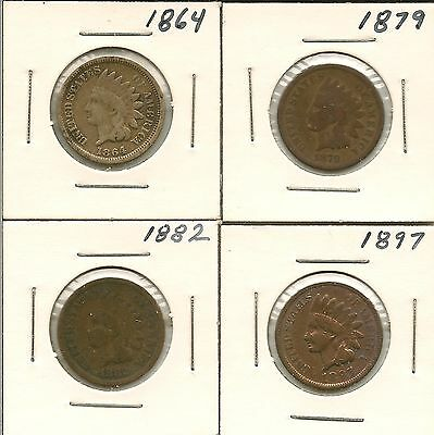 Indian Head Penny Lot (4 coins)
