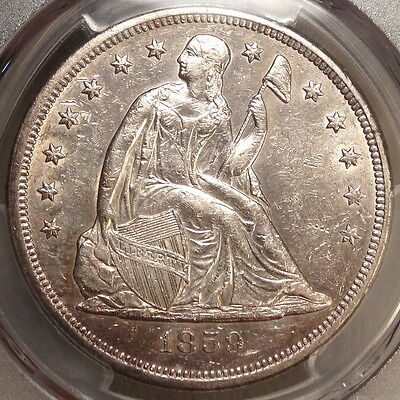 1859-O Seated Liberty Dollar, Choice Almost Uncirculated, PCGS AU-55, Fresh Cert