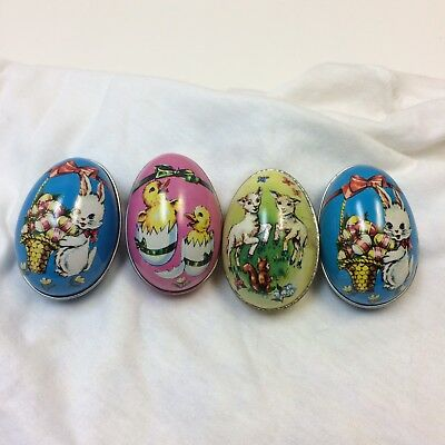 Lot of 4‼ VTG‼ METAL TIN EASTER EGG CANDY CONTAINER by Murray Allen LTD • VGUC‼