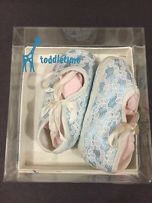 VTG Baby Girl's Bootie Shoes Blue Lace New Original Box Penney's Toddletime