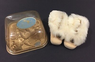 VTG 60's Keepsake Baby Shoes Leather & Fur With Jingle Bells New In Box USA Made