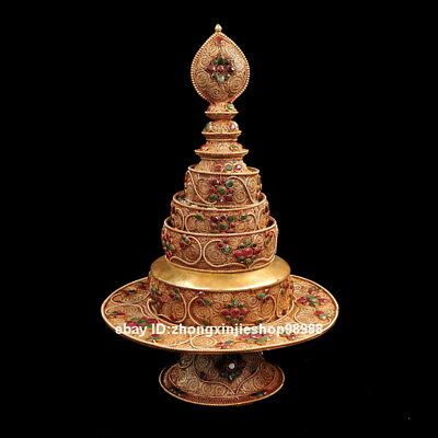 Tibet Bronze  inlay ruby beryl Gem Buddhism Temple faqi Mandala Manza Set  40CM