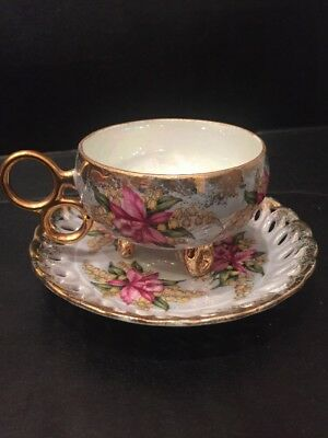 Vintage L M Royal Halsey Very Fine China Footed Cup And Saucer Light Blue