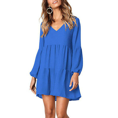 Female Spring Autumn Pleated V-neck Dress Sexy Party Long Sleeve Dress 8C