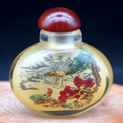Chinese handmade inside painted Ancient man and landscape glass snuff bottle